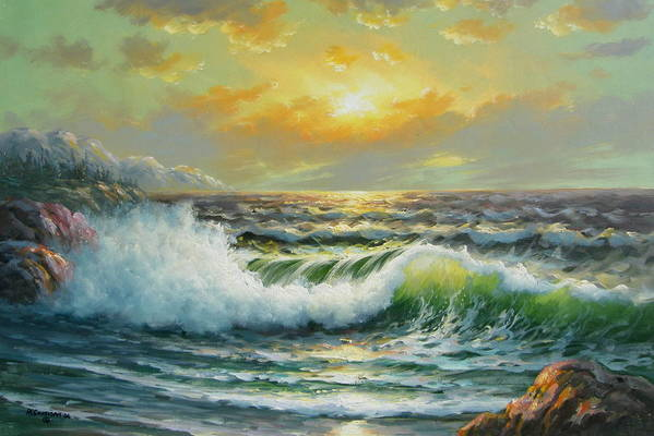 Seascape Art Print featuring the painting Near Bella Coolla by Imagine Art Works Studio
