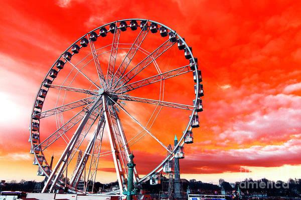 Paris Ferris Wheel Pop Art Art Print featuring the photograph Paris Ferris Wheel Pop Art 2012 by John Rizzuto