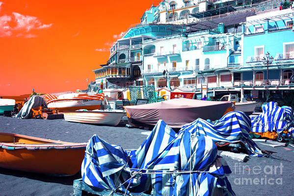 Positano Beach Pop Art Art Print featuring the photograph Positano Beach Pop Art by John Rizzuto