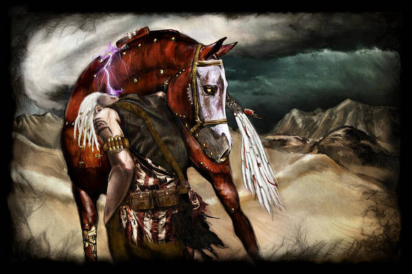 Fantasy Art Print featuring the painting Ruined Empires - Skin Horse by Mandem