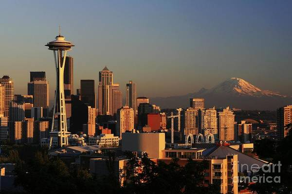 Seattle Sunset Cityscape Evening City Rainier Art Print featuring the photograph Seattle Equinox by Winston Rockwell