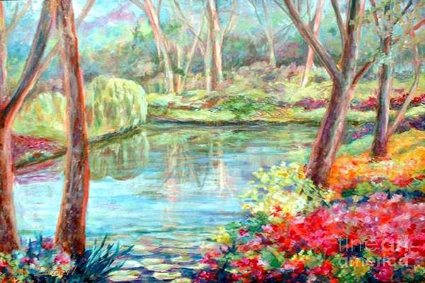 Landscape Art Print featuring the painting Silent Pond by Nancy Isbell
