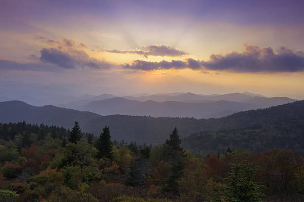 Sunset Print featuring the photograph Sunset On The Blue Ridge Parkway by Rob Travis