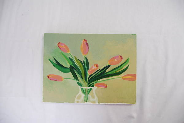 Still Life Of Dancing Tulips Art Print featuring the painting Tulips Dancing by Marti Kuehn
