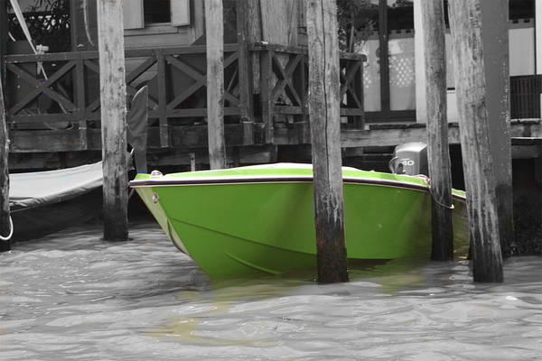 Italy Art Print featuring the photograph Venice Canals Green Boat by Greg Sharpe