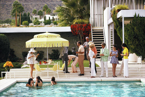 People Art Print featuring the photograph Poolside Party by Slim Aarons