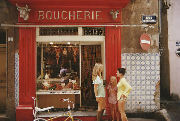 Child Art Print featuring the photograph Saint-tropez Boucherie by Slim Aarons