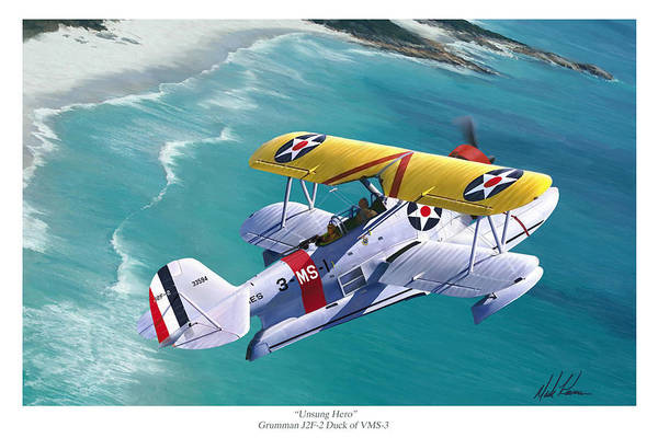 Aviation Art Print featuring the painting Unsung Hero - Grumman J2f Duck by Mark Karvon