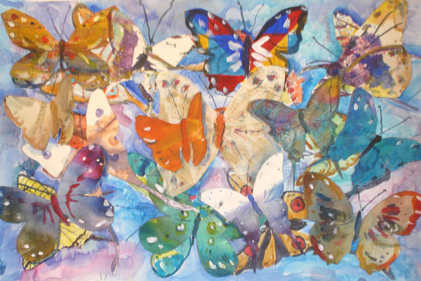 Collage Art Print featuring the painting Collage Of Butterflies by Joyce Kanyuk