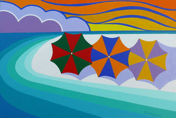 Beach Art Print featuring the painting Umbrellas On The Beach by James Cordasco