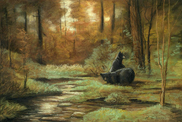 Wildlife Drawing Art Print featuring the drawing Black Bear - Autumn by Michael Scherer