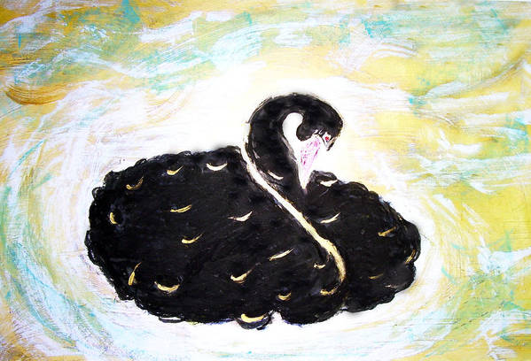 Swan Art Print featuring the painting Black Swan by Michela Akers