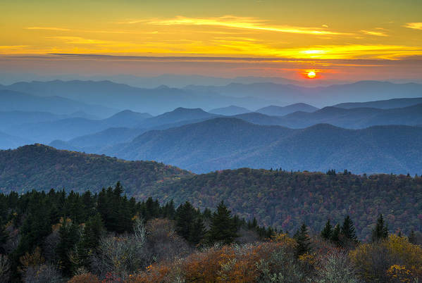 Blue Ridge Parkway Art Print featuring the photograph Blue Ridge Parkway Sunset - For The Love Of Autumn by Dave Allen