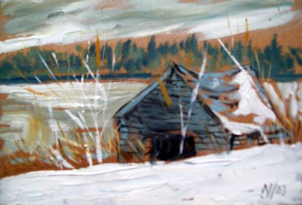 Winter Art Print featuring the painting By The Lake by Norman F Jackson