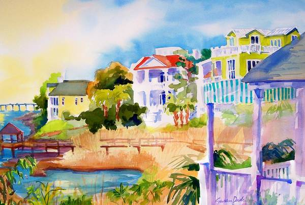 Seascape Art Print featuring the painting Coastal Harbour by Susan Dade