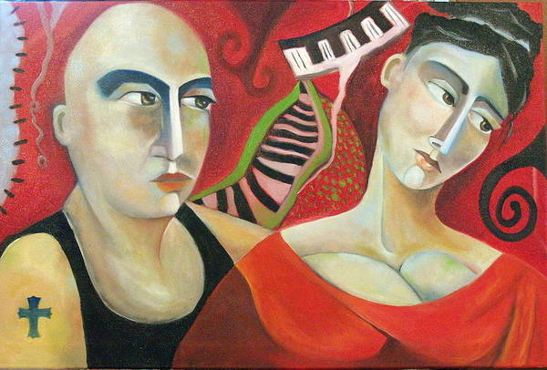 Man Woman Cubist Music Piano Red Cross Art Print featuring the painting Corazon Pesado by Niki Sands