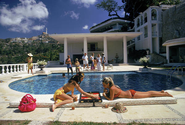 People Art Print featuring the photograph Poolside Backgammon by Slim Aarons