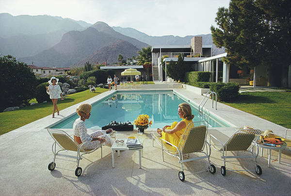 Swimming Pool Art Print featuring the photograph Poolside Gossip by Slim Aarons