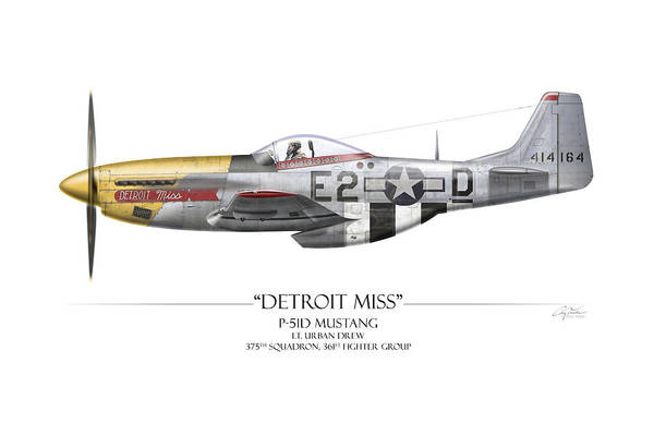 Aviation Art Print featuring the painting Detroit Miss P-51d Mustang - White Background by Craig Tinder
