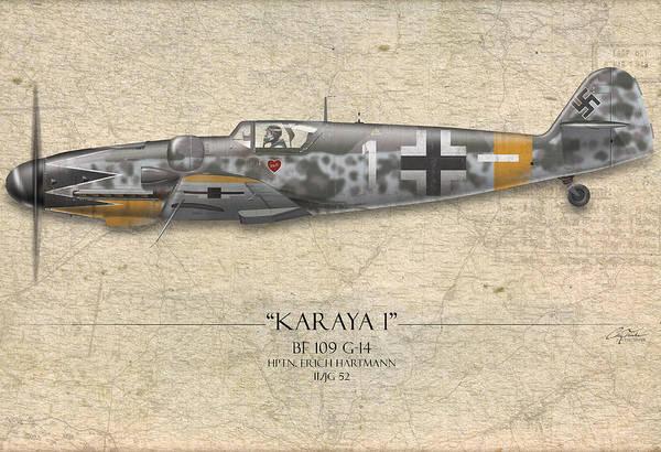 Aviation Print featuring the painting Erich Hartmann Messerschmitt Bf-109 - Map Background by Craig Tinder