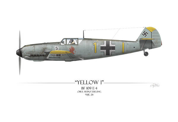Aviation Art Print featuring the painting Heinz Ebeling Messerschmitt Bf-109 - White Background by Craig Tinder