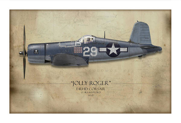 Aviation Print featuring the painting Ira Kepford F4u Corsair - Map Background by Craig Tinder