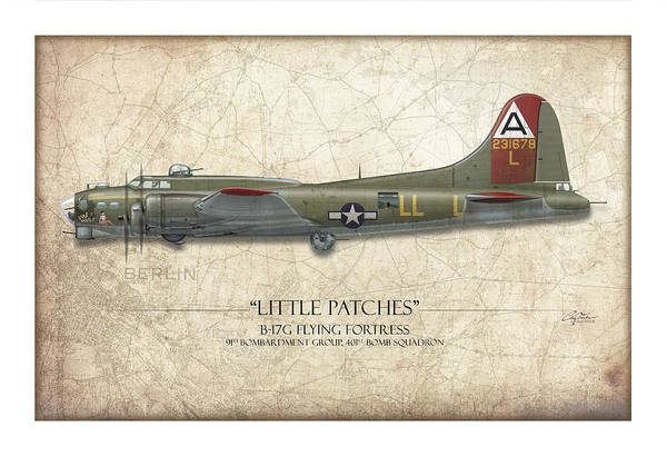 Aviation Art Print featuring the painting Little Patches B-17 Flying Fortress - Map Background by Craig Tinder
