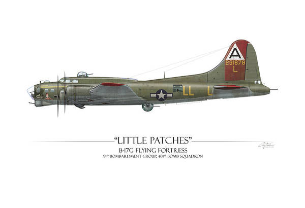 Aviation Art Print featuring the digital art Little Patches B-17 Flying Fortress - White Background by Craig Tinder