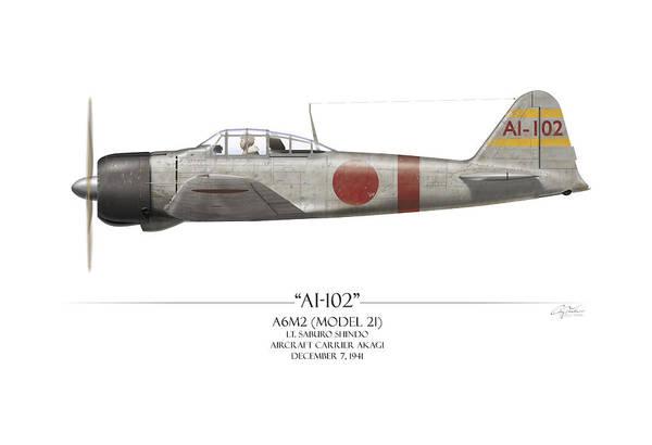 Aviation Print featuring the painting Saburo Shindo A6m Zero - White Background by Craig Tinder