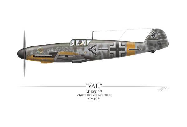 Aviation Art Print featuring the painting Werner Molders Messerschmitt Bf-109 - White Background by Craig Tinder