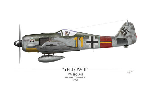 Aviation Art Print featuring the painting Yellow 11 Focke-wulf Fw 190 - White Background by Craig Tinder