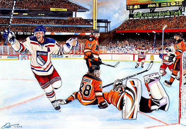 New York Rangers Art Print featuring the painting 2012 Bridgestone-nhl Winter Classic by Dave Olsen