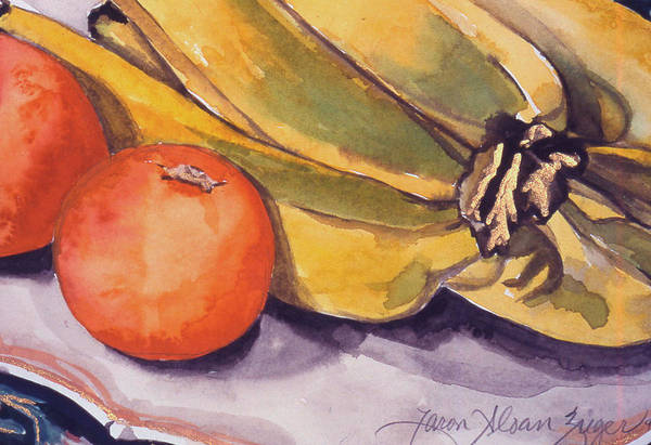 Still-life Art Print featuring the painting Bananas And Blood Oranges Still-life by Caron Sloan Zuger