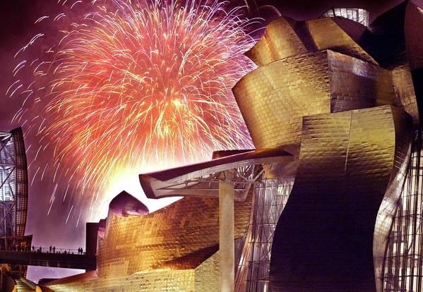 Spain Art Print featuring the photograph Fireworks At Guggenheim by Rafa Rivas
