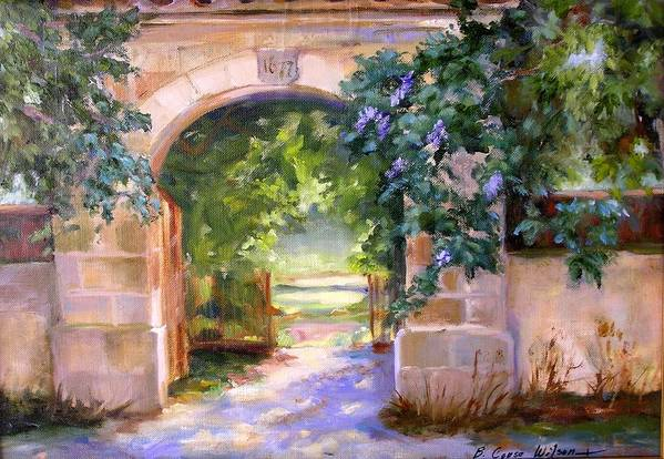 France Art Print featuring the painting Gate To The Chateau by Barbara Couse Wilson