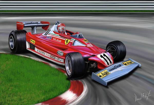 Niki Lauda Art Print featuring the digital art Niki Lauda F-1 Ferrari by David Kyte