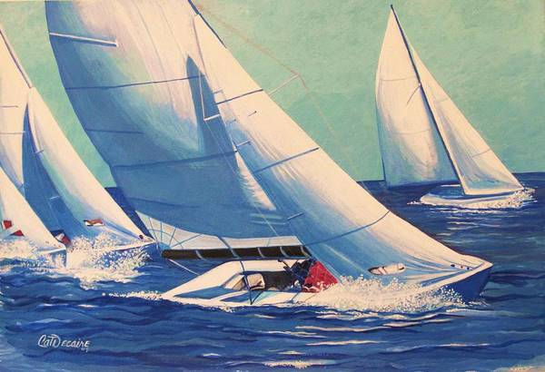 Sailboats Art Print featuring the painting Sailing Regatta by Catalina Decaire