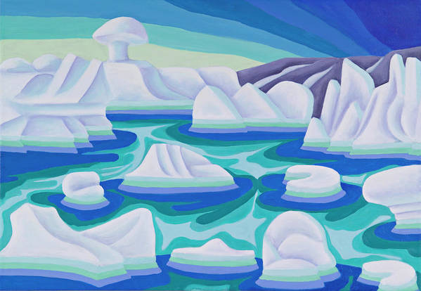 Arctic Art Print featuring the painting The Ice Calves by Lynn Soehner