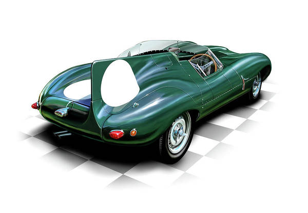 Automotive Art Print featuring the digital art Jaguar D Type by David Kyte