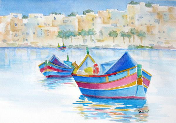 Water Art Print featuring the painting Marsaxlokk Bay by Marsha Elliott