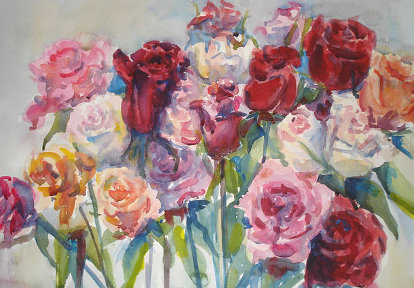 Roses Art Print featuring the painting Paul's Roses II by Joyce Kanyuk