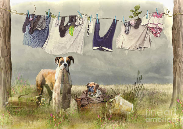 Boxer Dog Art Print featuring the digital art Wash Day by Trudi Simmonds