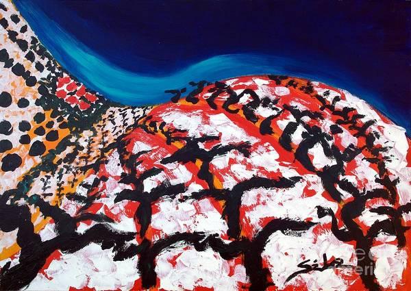 Vineyard Art Print featuring the painting Island Vineyard by Lidija Ivanek - SiLa