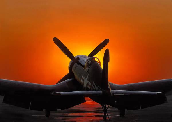 Corsair Art Print featuring the photograph Sunset Corsair by Paul Leverington