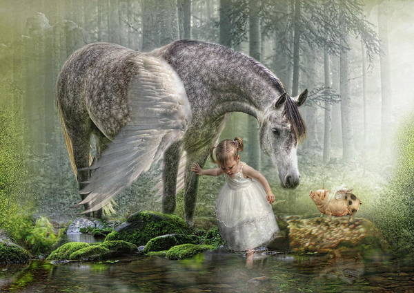 Horse Art Print featuring the digital art Special Friends by Trudi Simmonds