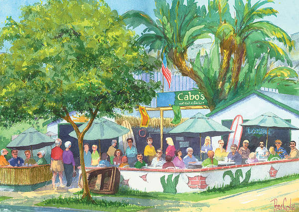 Cafe Art Print featuring the painting Cabos Bar And Grill by Ray Cole