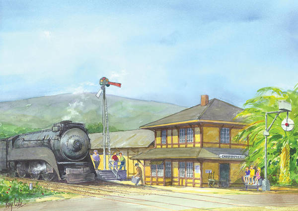 Trains Art Print featuring the painting Carpinteria Train Depot by Ray Cole
