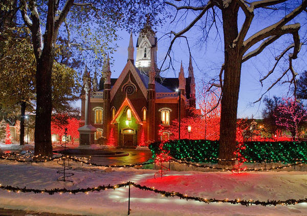 Christmas Print featuring the photograph Christmas Lights At Temple Square by Utah Images