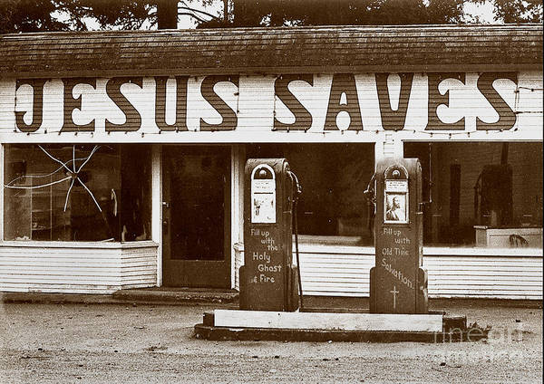 Jesus Art Print featuring the photograph Jesus Saves 1973 by Michael Ziegler