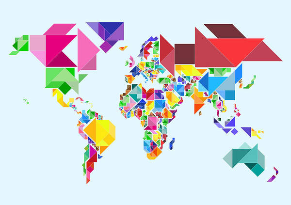 Tangram Map Print featuring the digital art Tangram Abstract World Map by Michael Tompsett